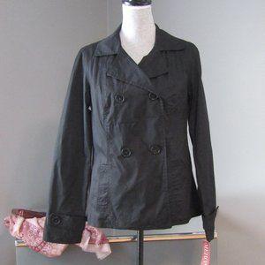 NWT Merona Black Short Trench Coat Double Breasted